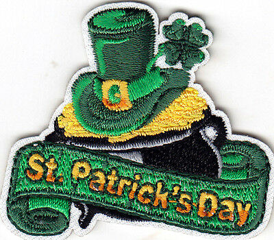 Patrick/'s Day IRISH CLADDAGH GREEN /& WHITE IIron On Patch Shamrock Lucky St