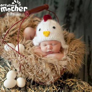Image is loading Soft-Newborn-Baby-Boys-Girls-Chicken-Hat-Crochet- 677eea03c82