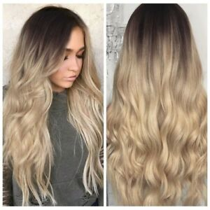 Synthetic Hair Wigs For Women Honey Blonde Ombre Water Wave Curly