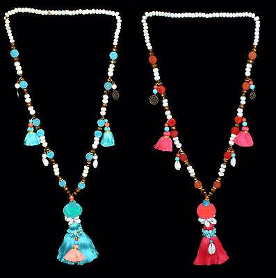 Bodhi 7 Farben Lange handgearbeitete Kette Quaste mit Elefant und Glasperlen