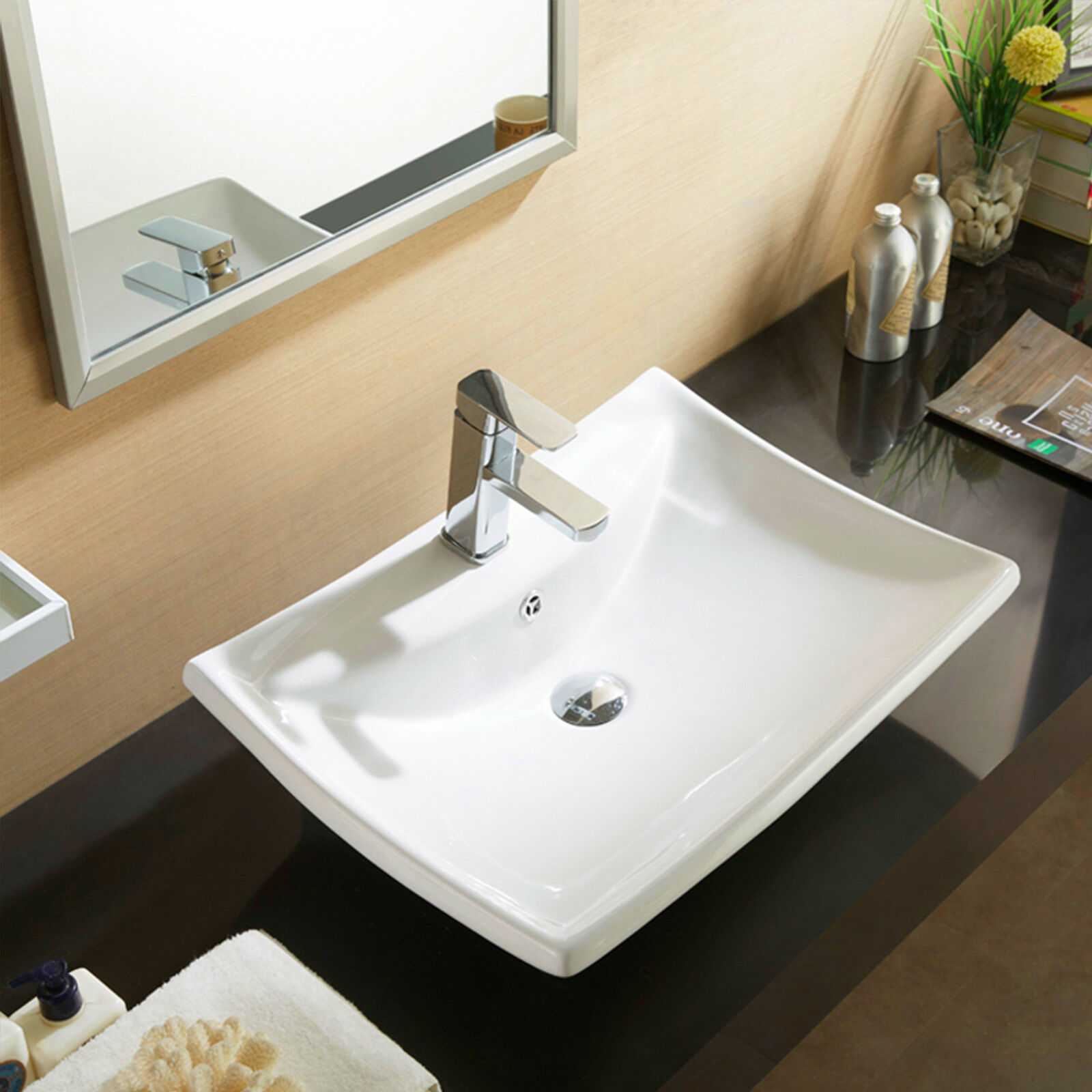 Modern Corner Ceramic Cloakroom Wash Basin Wall Hung Bathroom Sink /& Waste Plug