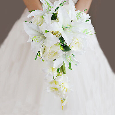 23b881dd72244 Artificial Lily Roses Bride Hand Flower Wedding Bridal Bouquet Waterfall  Style | eBay