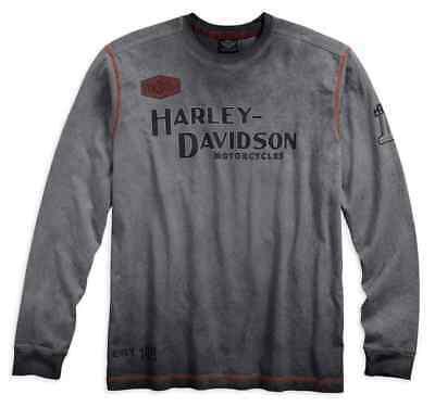 VINTAGE GREY BIKER IDEAL GIFT MENS LONG SLEEVED T-SHIRT TOP HARLEY-DAVIDSON