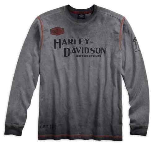 MENS LONG SLEEVED T-SHIRT TOP VINTAGE GREY BIKER IDEAL GIFT HARLEY-DAVIDSON