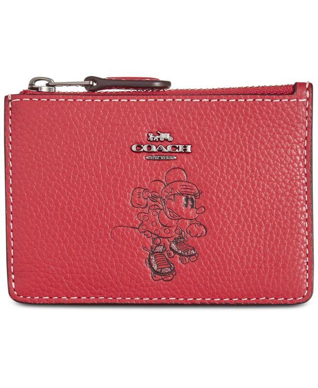 Coach Disney Minnie Maus Motiv Mini Identifikation Skinny Portemonnaie ~ Nwt Rot Strukturelle Behinderungen