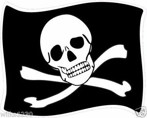 2 x skull and crossbones Pirate decals self adhesive vinyl sticker jolly roger