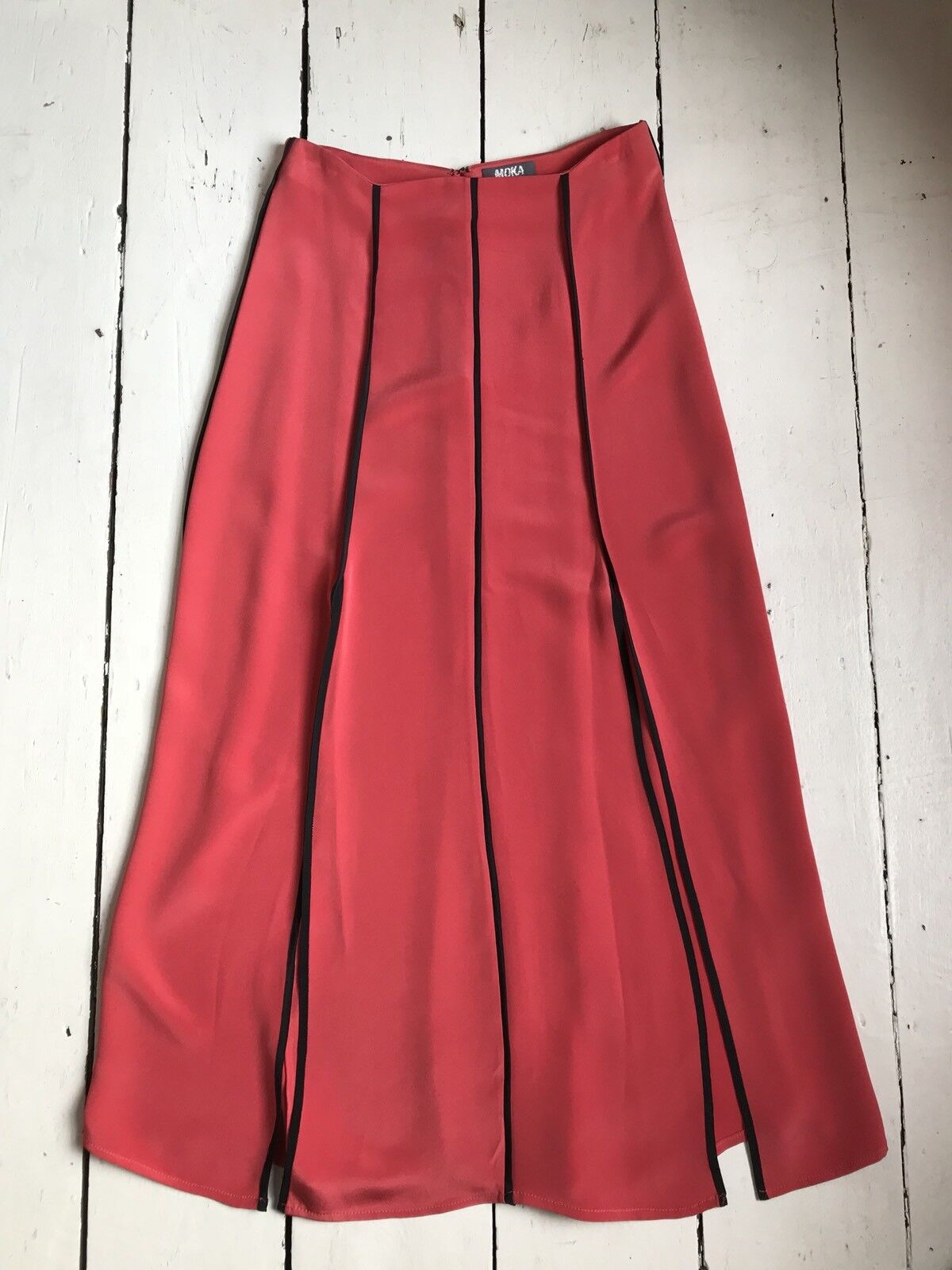 Coral Silk Maxi Skirt Size Small Moka London