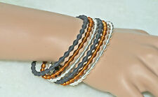 Set of 6 Trendy Silver Copper & Black Stretchy Bracelets - 2.5 Diameter