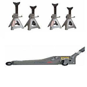 3 Ton Heavy Duty Steel Ultra LOW PROFILE Floor Jack /& Four 3 ton Jack Stands