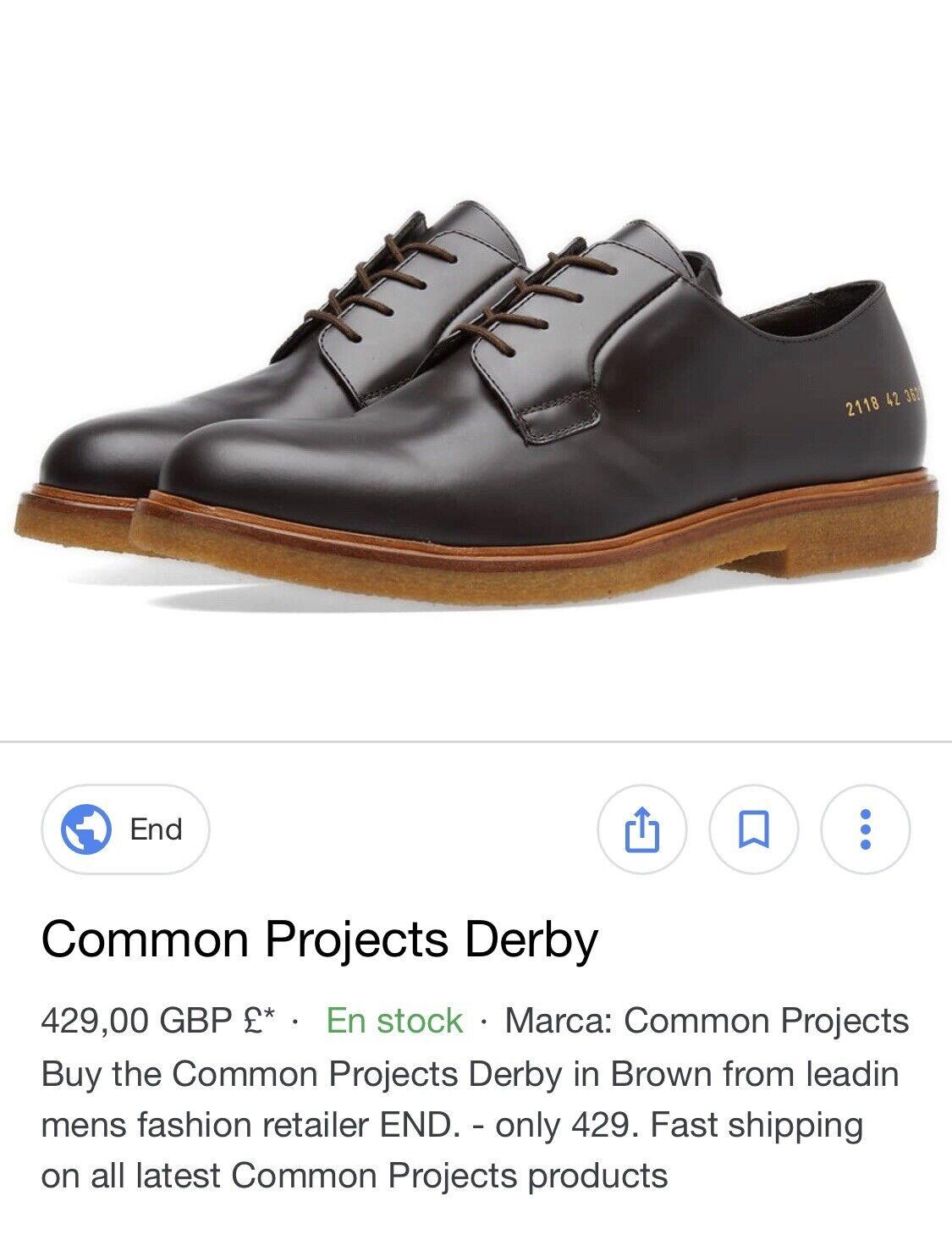 Common projects derby chaussures marron neuf en boîte 100% Véritable Toutes Tailles