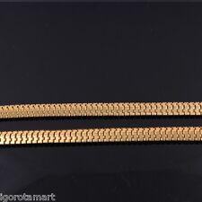 Nuevo Collar de Cadena Serpiente Chapado en Oro 24k plana Franco Hombres Damas Collar de Hip Hop