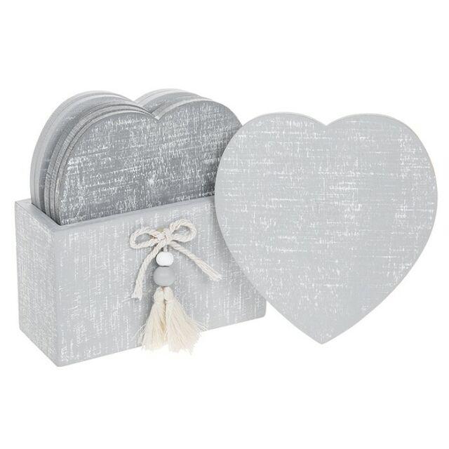 Provence Set Of 6 White Heart Coasters