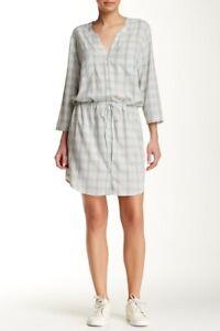 Soft Joie Dayle Plaid Drawstring Shirt Dress Size XS White Gray Green