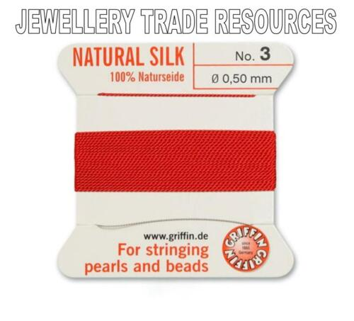 RED SILK STRING THREAD 0.50mm FOR STRINGING PEARLS /& BEADS GRIFFIN SIZE 3