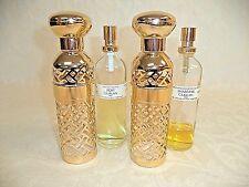 2 Guerlain Shalimar Gold Lattice 3.1 oz Reusable Bottle Holder With Perfume 1982