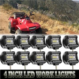 NEW-10PCS-4inch-180W-LED-Flood-Work-Lights-Fit-Driving-Fog-SUV-Offroad-Golf-Cart