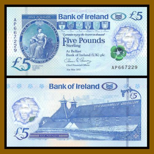 North Ireland 5 Pounds P- New Bank of Ireland Polymer Unc 2019 2017