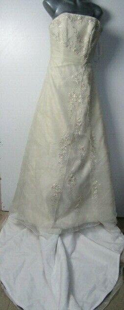 Romantica Pale Gold Champagne Ballgown Princess Strapless Wedding Dress Size 12