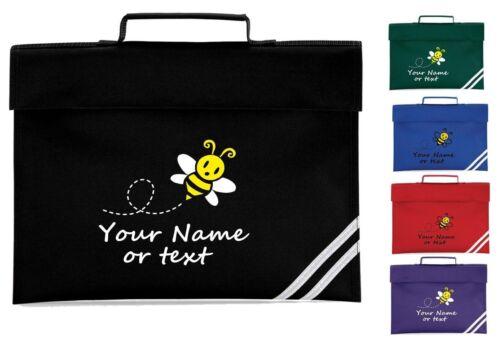 PERSONALISED BUMBLE BEE BOOK BAG SCHOOL BOOKS KIDS PRIMARY NAME JUNIOR GIRL BOY