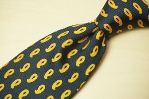 Sulka Navy Blue Canary Yellow Outlined Paisley Twill 100% Silk Tie Made France