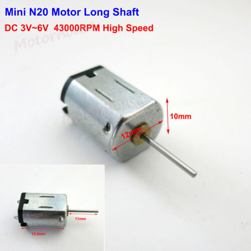 DC 3V~6V 5V 40000RPM High Speed Mini 10mm*12mm N20 Motor Long Shaft DIY RC Toy