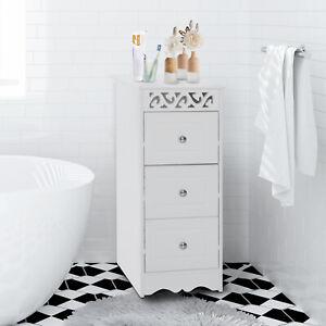 Détails sur Homcom 3 TIROIRS meuble de salle de bain Meuble de rangement  bois armoire meuble blanc- afficher le titre d\'origine