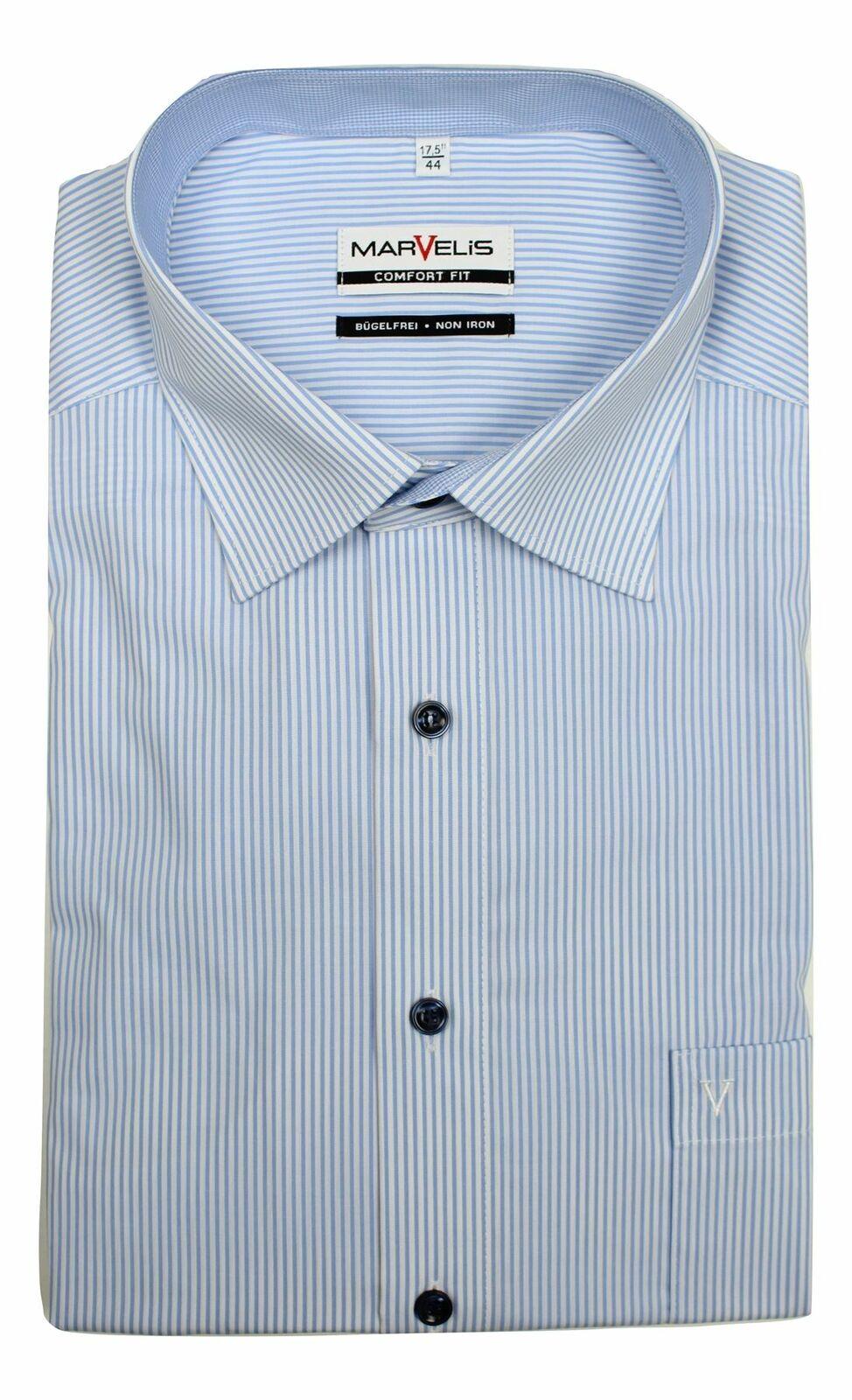 Sky Blue Stripe Contrast Spread Collar