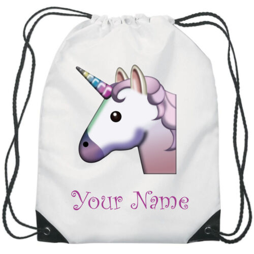Personalised Unicorn Emoji Gym Bag PE Dance Sports School Swim Bag Waterproof