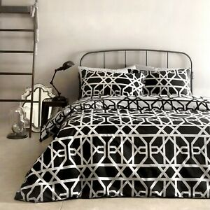 Dreams-amp-Drapes-MANILA-Black-amp-Grey-100-Cotton-Duvet-Cover-Set