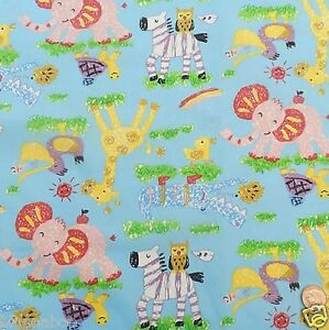 Childrens animal playtime blue cotton fabric width 44 ebay for Childrens animal fabric