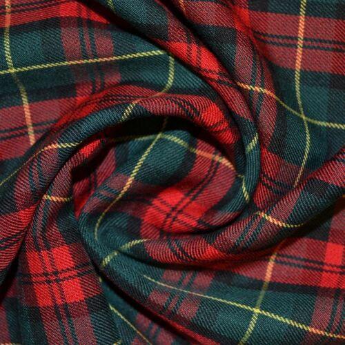 Rojo y oro material de tela de tartán-Extra Ancho