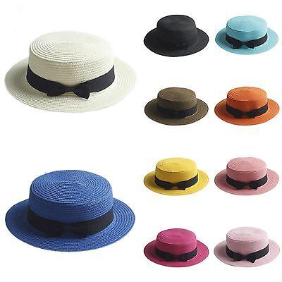 Kids Girls Straw Bowler Boater Sun Hat Round Flat Caps Brim Summer Photo Hat