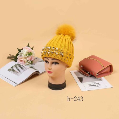 Femme Perle Strass fausse fourrure Fleece Hat Cap fashion Caps Neuf