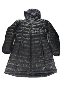 THE NORTH FACE BLACK 550 PUFFER DOWN HOODed LONG COAT JACKET WOMEN SIZE M