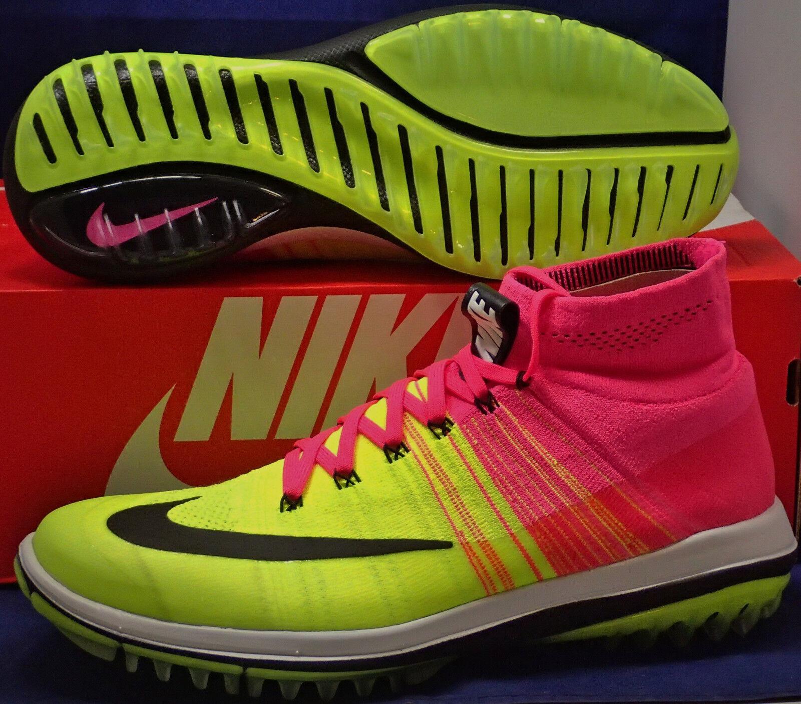 Nike Flyknit Elite Golf Shoes Pink Blast Black Volt White SZ 9.5 ( 844450-600 )