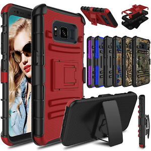 For-Samsung-Galaxy-S8-Active-Hybrid-Stand-Hard-Clip-Case-Cover-Screen-Protector