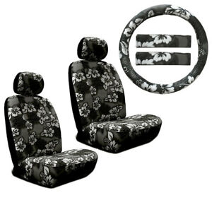 Hawaiian Car Seat Covers >> Details About New Black Hawaiian Flower Hibiscus Car Front Seat Covers Steering Wheel Cover