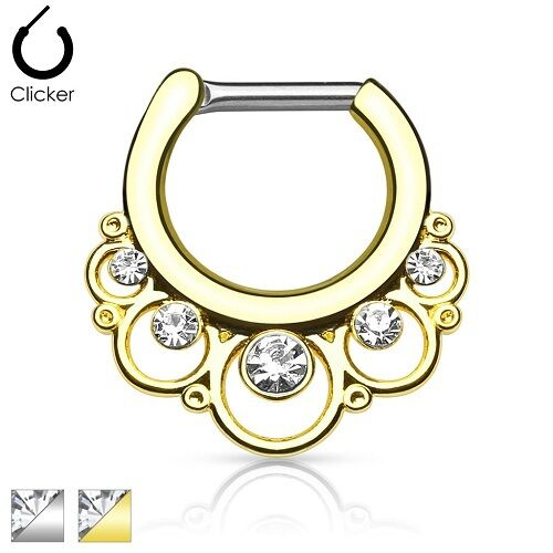 New Surgical Steel Floral CZ Gem Nose Septum Ring Clicker 16g 14g Gold Silver