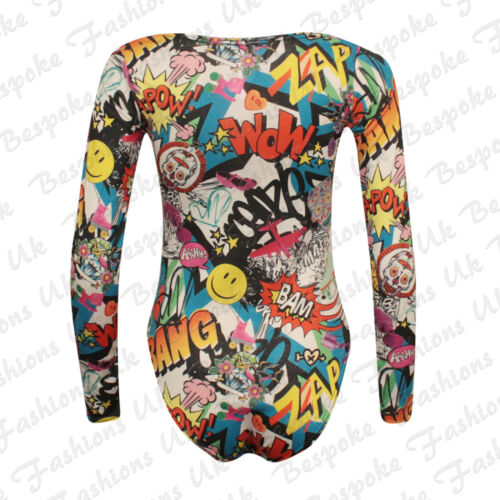 LADIES WOMENS MESH INSERT COMIC BANG LONG /& SLEEVELESS BODYSUIT LEOTARD 8-20