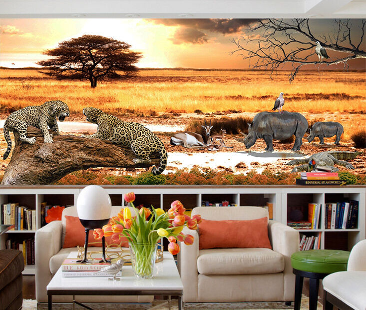 3D Grassland Animals 3 Wall Paper Wall Print Decal Wall Deco Indoor Wall Murals