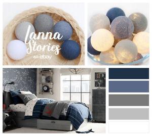 20 Cotton Ball String Lights - Bedroom Fairy Nursery White Grey ...
