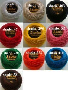 10 Anchor Pearl Cotton Crochet Embroidery Thread Balls in each Colour Choose.