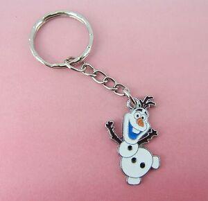 Girls-Enamel-Olaf-Snowman-Frozen-Keyring-New-in-Gift-Bag-Stocking-Filler