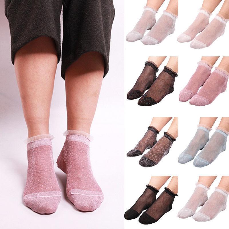 Cute Women Ruffle Glitter Mesh Net Socks Silver Gauze Fishnet Socks Ankle Socks