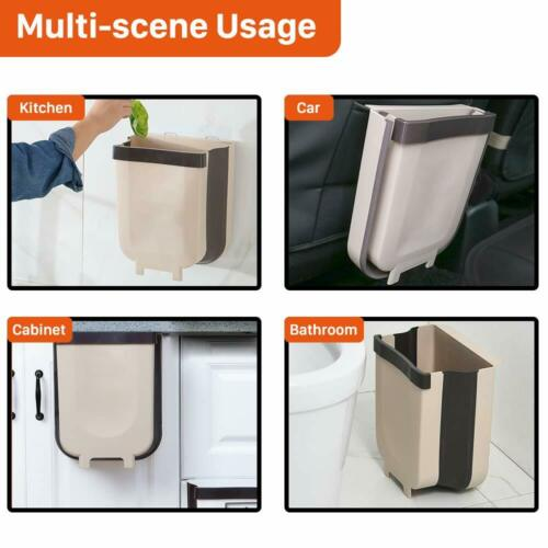 Folding Waste Bin Collapsible Hanging Kitchen Trash Can with Cabinet Door