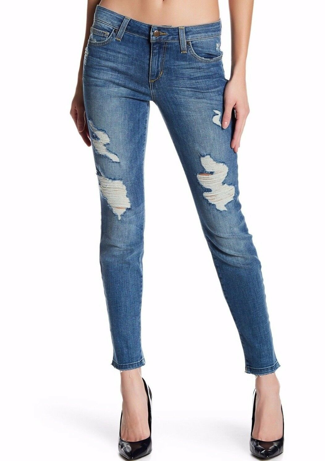 NWT JOE'S Sz27 THE SKINNY ANKLE SLIM MIDRISE STRETCH JEANS BERDINE DISTRESSED