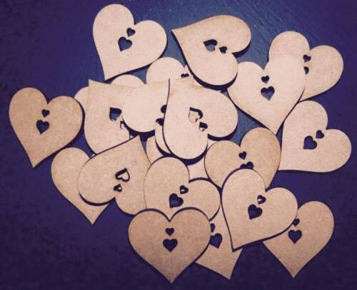 Corte Láser de Madera Corazón con formas de corazón MDF Boda Craft 40,50,60 mm