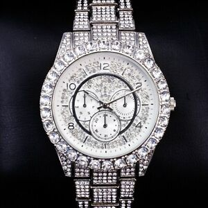 Fully Iced Watch Bling Rapper Simulate Lab Diamond Silver Metal Band Luxury Men