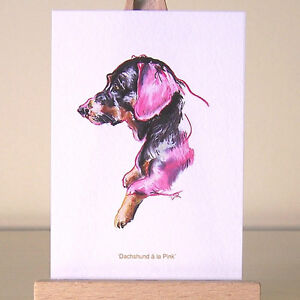 Pink-Dachshund-ACEO-Art-Card-oil-pastel-Doxie-Dog-Surrealism-drawing