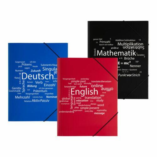 Gummizugmappe Eckspannmappe Sammelmappe DIN A4 Mathematik Deutsch Englisch